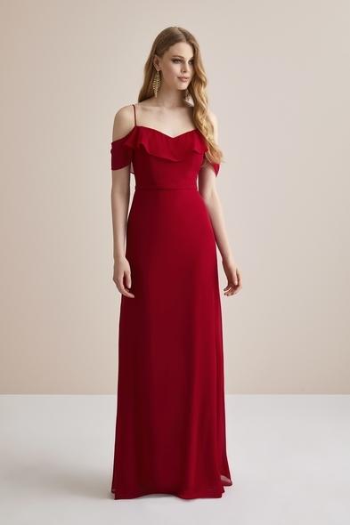 Kırmızı İnce Askılı Şifon Uzun Abiye Elbise - Oleg Cassini