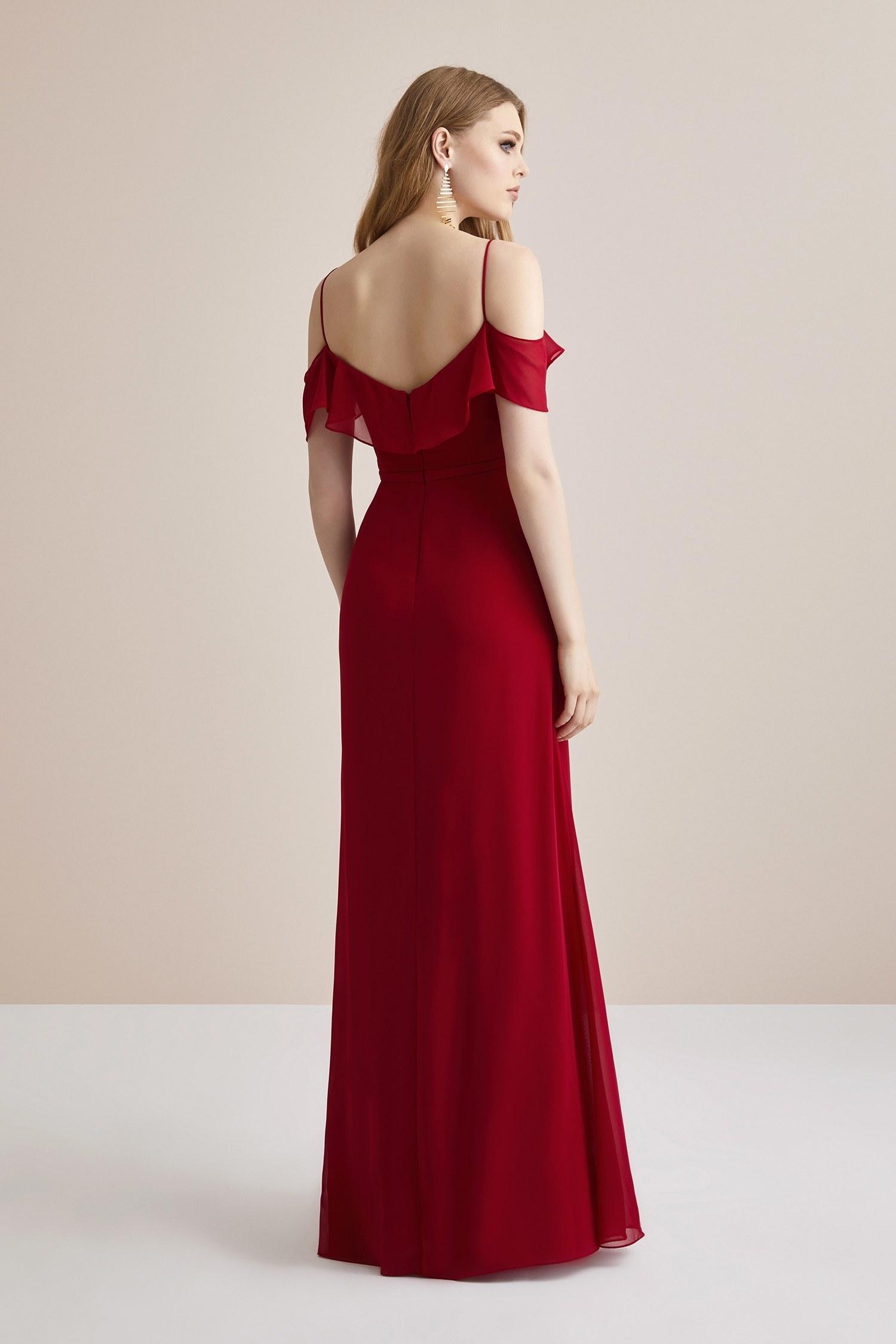Kırmızı İnce Askılı Düşük Kol Şifon Uzun Abiye Elbise - Thumbnail