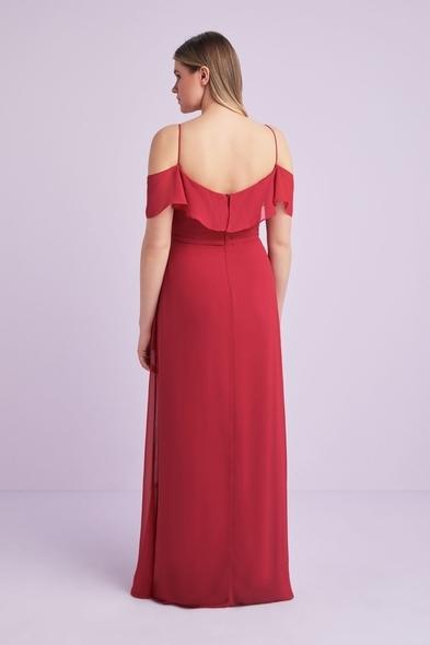 - Kırmızı İnce Askılı Şifon Uzun Büyük Beden Abiye Elbise - Oleg Cassini