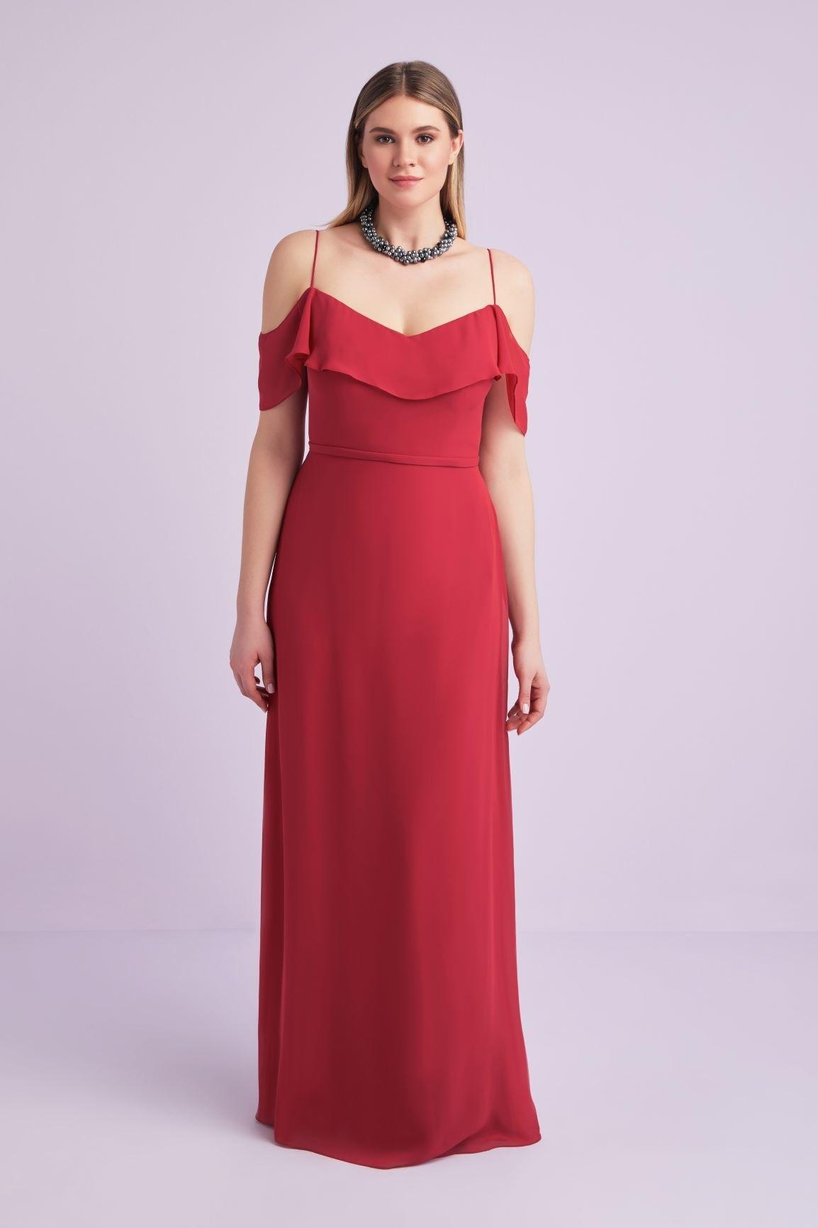 Kırmızı Askılı Düşük Kol Şifon Uzun Büyük Beden Abiye - Thumbnail