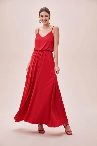 OLEG CASSINI TR - Kırmızı İnce Askılı V Yaka Belden Büzgülü Uzun Saten Elbise