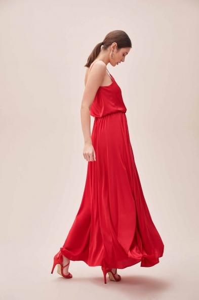 OLEG CASSINI TR - Kırmızı İnce Askılı V Yaka Belden Büzgülü Uzun Saten Elbise (1)