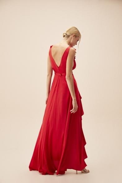 Alfa Beta - Kırmızı Kalın Askılı Fırfırlı Saten Uzun Elbise (1)