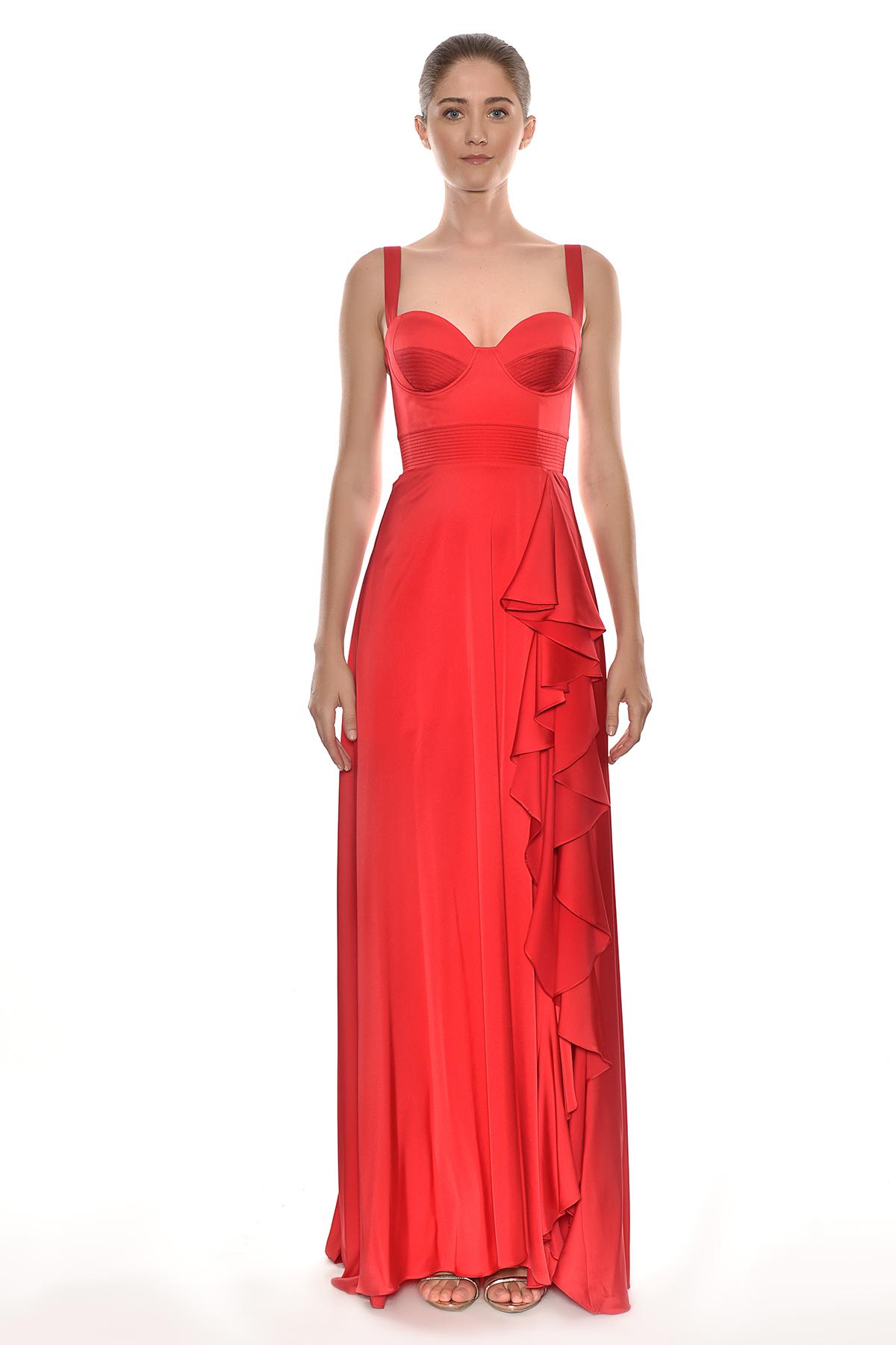 Alfa Beta - Kırmızı Kalın Askılı Yırtmaçlı Abiye Elbise (1)