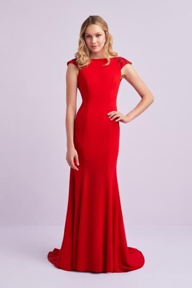 Viola Chan - Kırmızı Kap Kol Krep Uzun Abiye Elbise