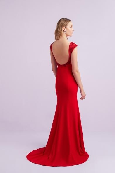 Viola Chan - Kırmızı Kap Kol Krep Uzun Abiye Elbise (1)