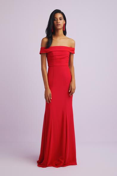 Oleg Cassini - Kırmızı Kayık Yaka Krep Abiye Elbise