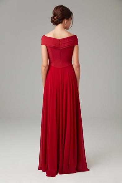 Alfa Beta - Kırmızı Kayık Yaka Şifon Uzun Büyük Beden Abiye Elbise (1)