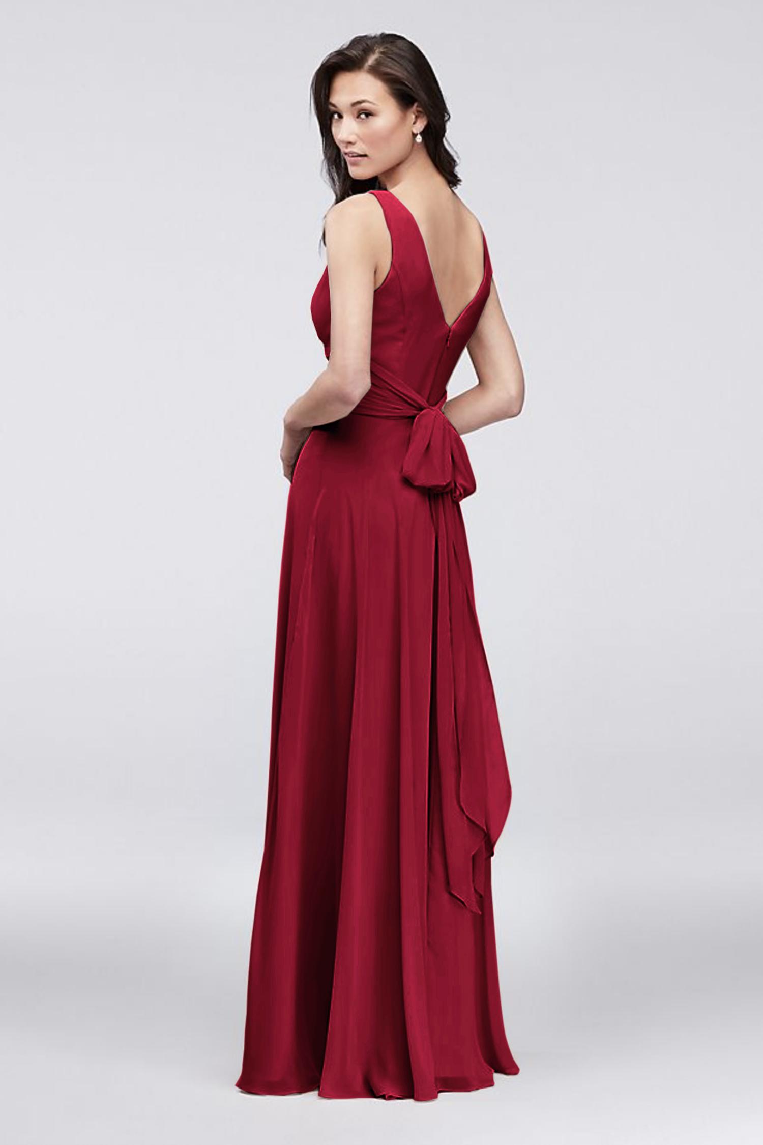 Kırmızı Kruvaze Yaka Yırtmaçlı Uzun Şifon Elbise - Thumbnail