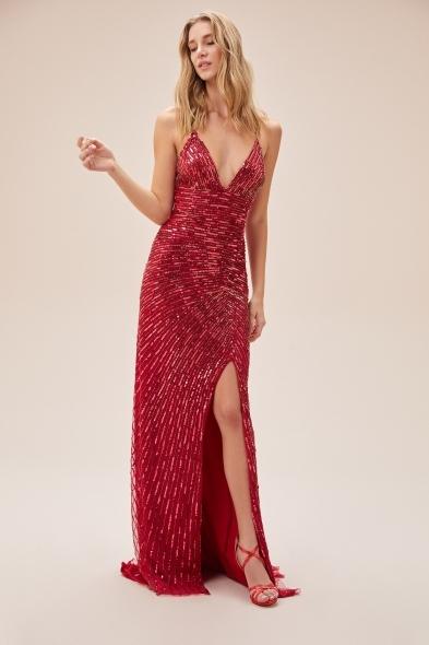 Viola Chan - Kırmızı Payet İşlemeli İnce Askılı Yırtmaçlı Uzun Elbise (1)