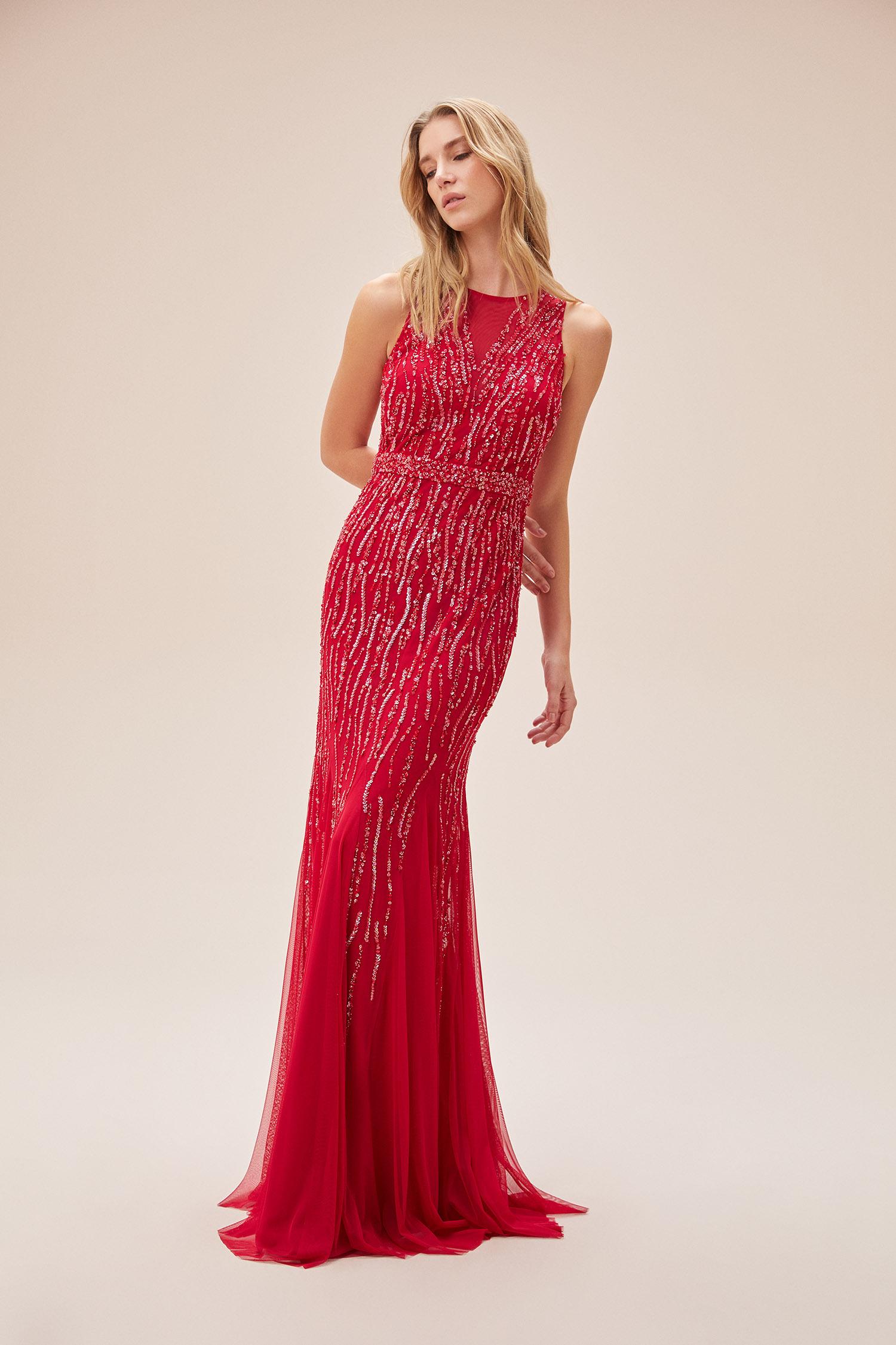 Kırmızı Payet İşlemeli Yuvarlak Yaka Uzun Abiye Elbise - Thumbnail