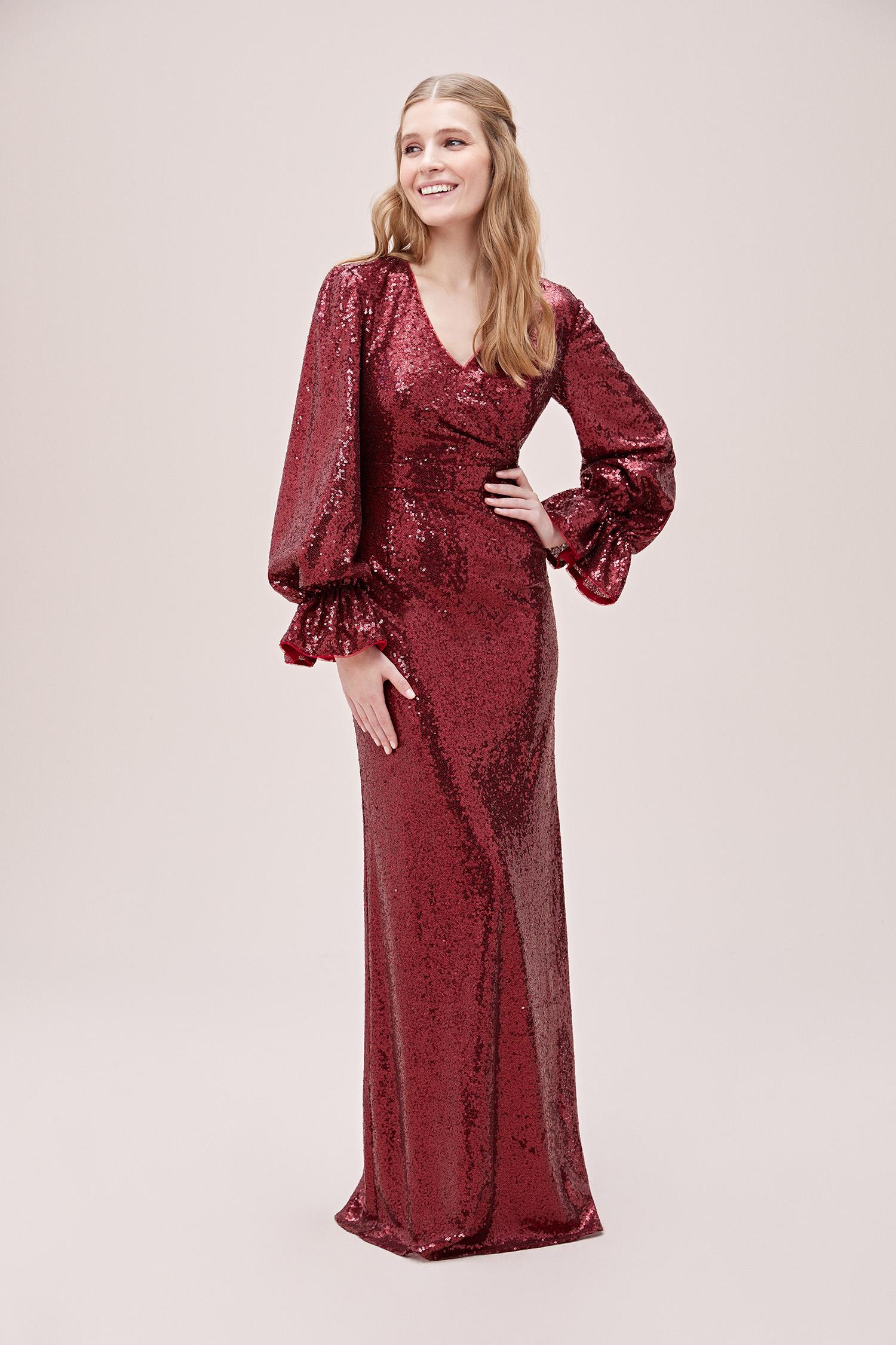 Kırmızı Payetli V Yaka Uzun Kollu Abiye Elbise - Thumbnail