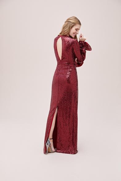 Viola Chan - Kırmızı Payetli V Yaka Uzun Kollu Abiye Elbise (1)