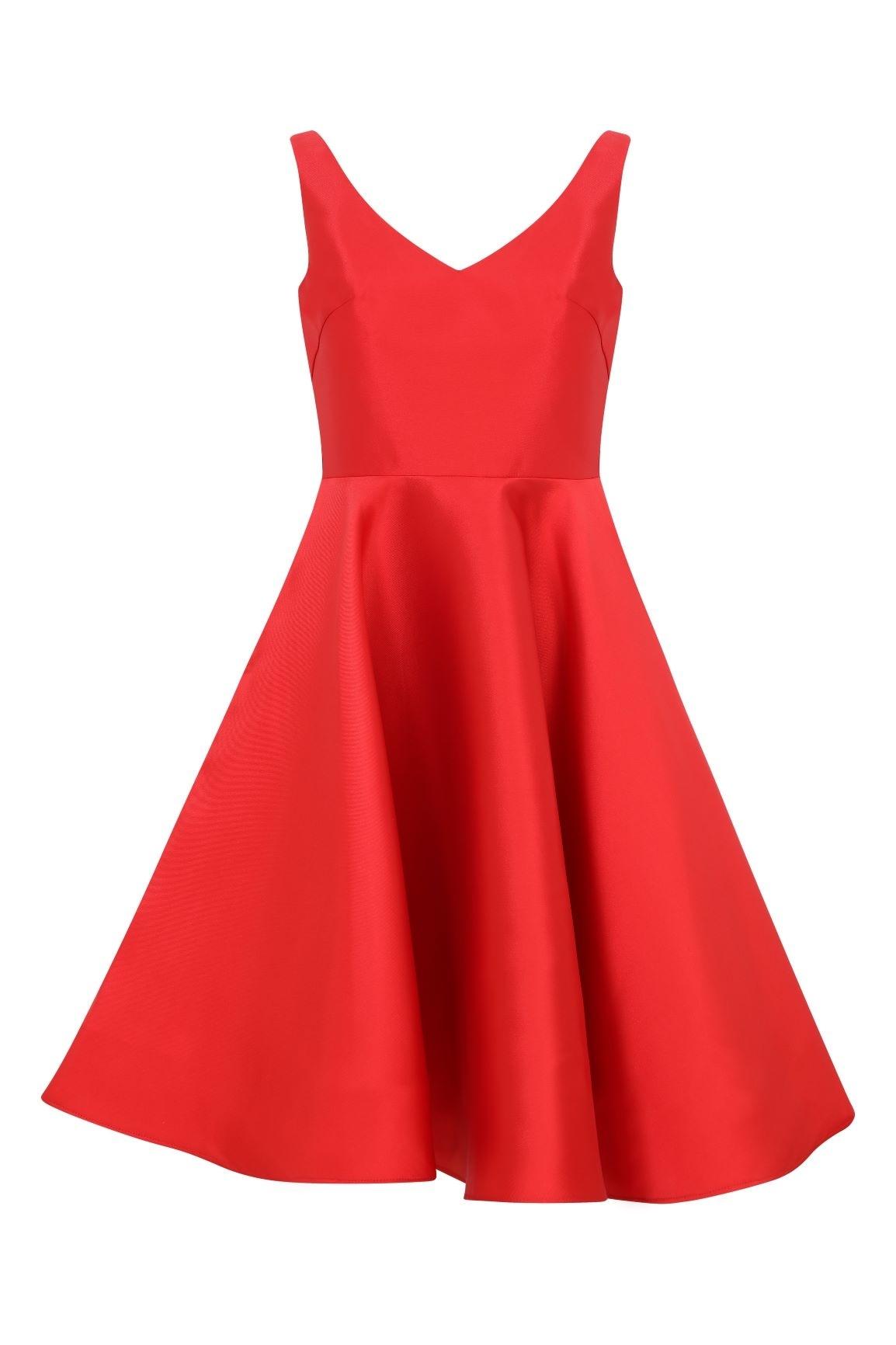 Kırmızı V Yakalı Kloş Etekli Kısa Abiye Elbise - Thumbnail