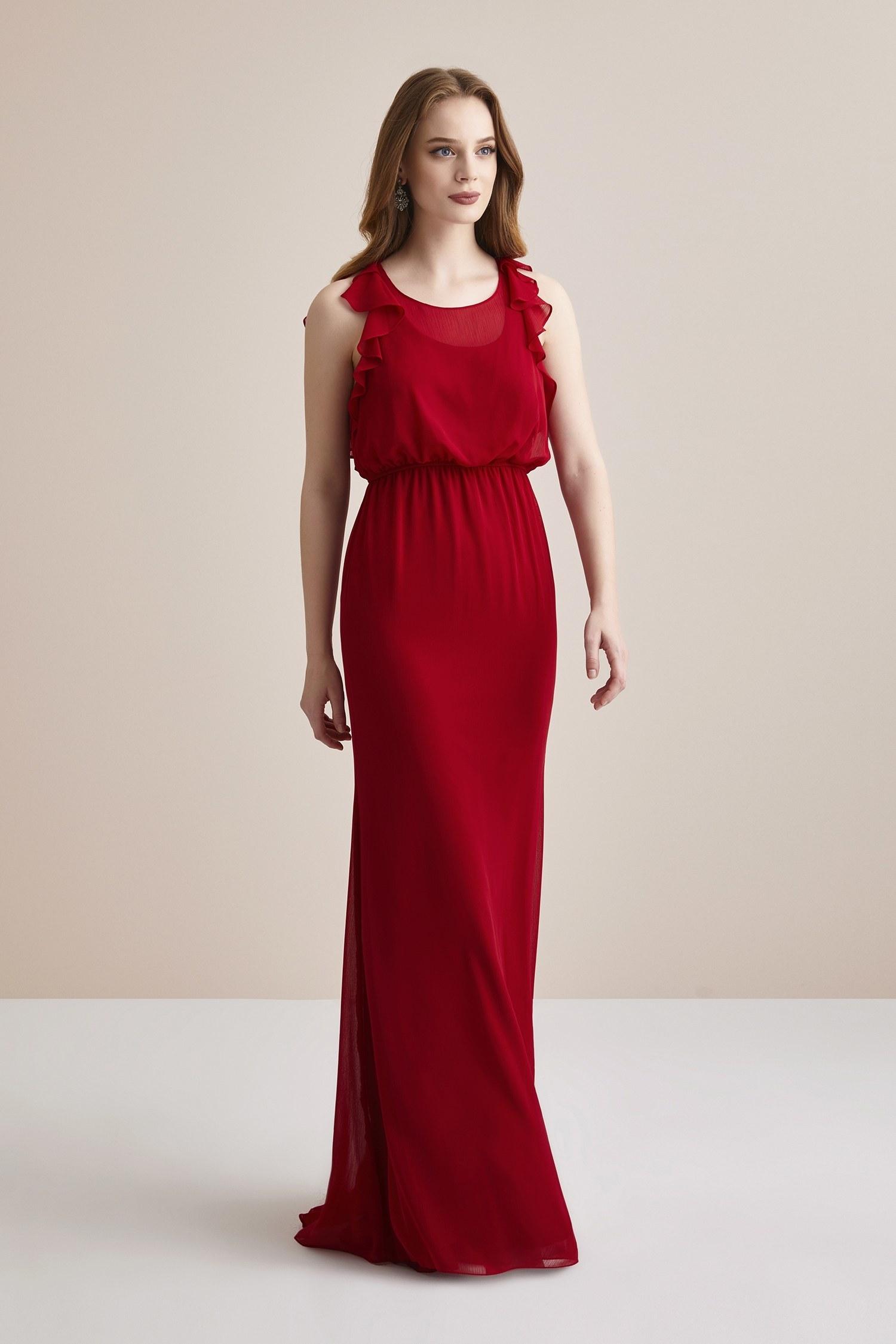 Kırmızı Sırtı Fırfırlı Beli Büzgülü Şifon Uzun Abiye Elbise - Thumbnail