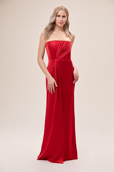 Alfa Beta - Kırmızı Straplez Drapeli Saten Uzun Abiye Elbise