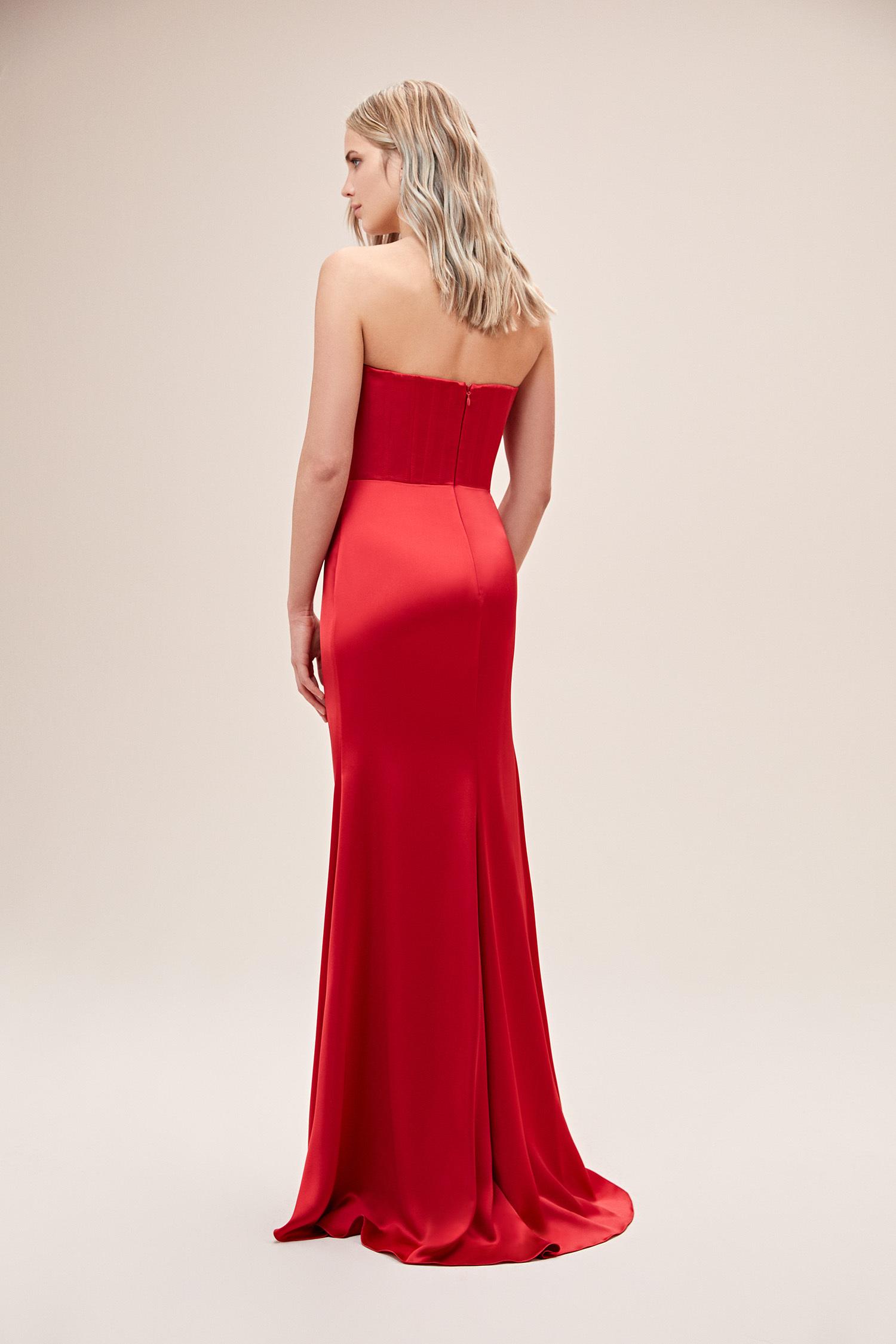 Kırmızı Straplez Drapeli Saten Uzun Abiye Elbise - Thumbnail
