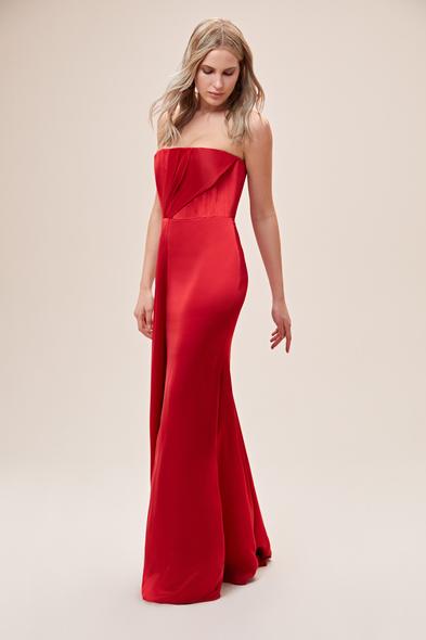 Alfa Beta - Kırmızı Straplez Drapeli Saten Uzun Büyük Beden Abiye Elbise