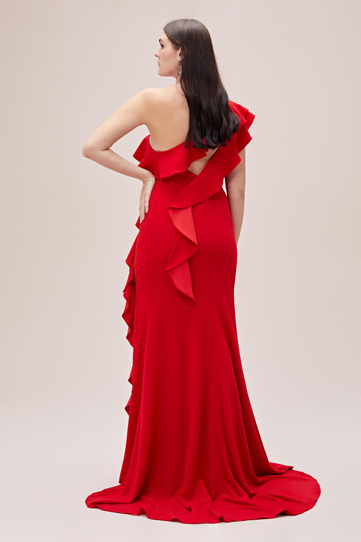 Kırmızı Tek Kollu Fırfırlı Uzun Büyük Beden Abiye Elbise - Thumbnail