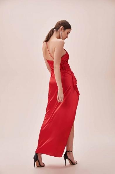 OLEG CASSINI TR - Kırmızı Tek Omuz Derin Yırtmaçlı Saten Elbise (1)