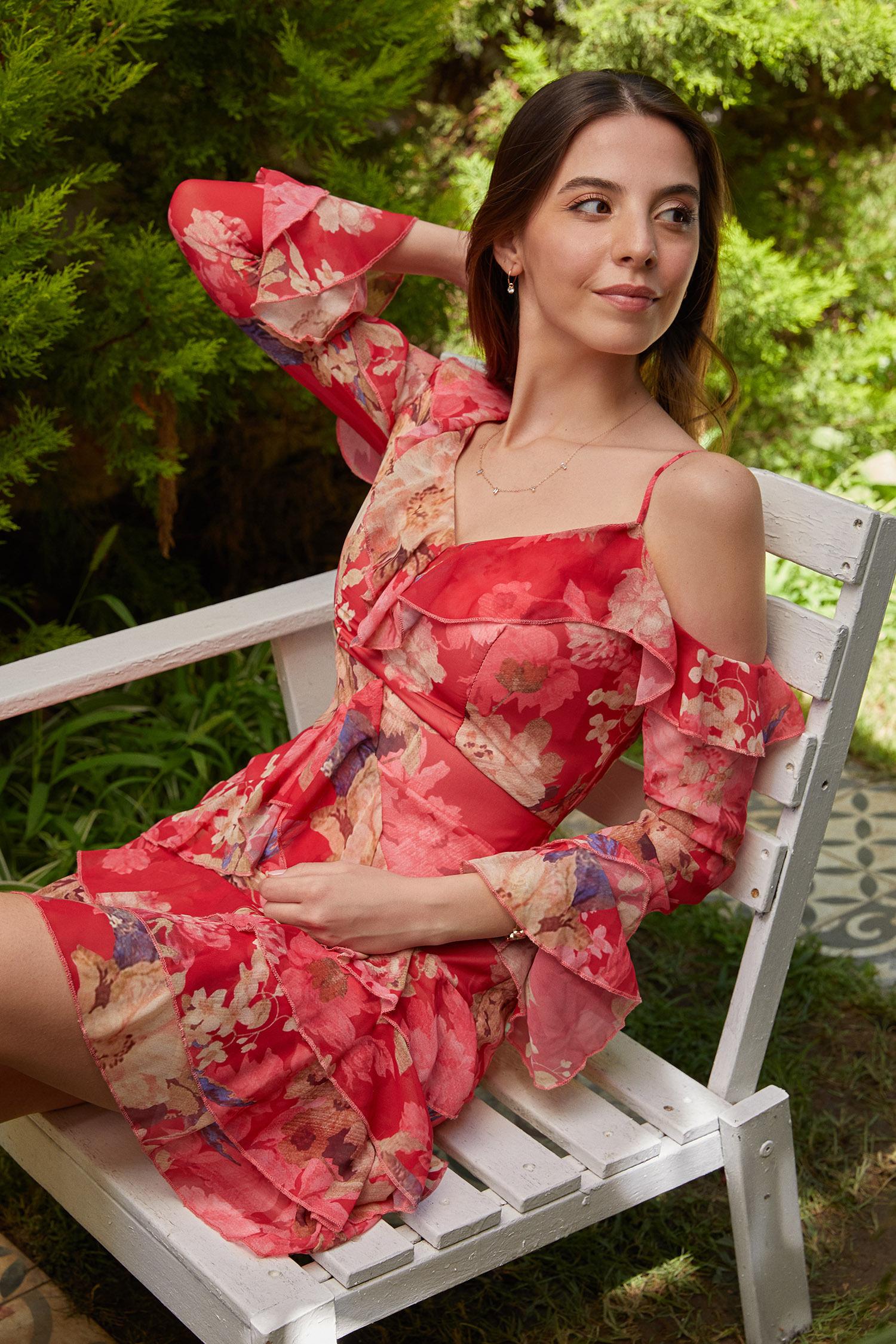 Kırmızı Tek Omzu Açık Uzun Kollu Çiçekli Şifon Kısa Elbise - Thumbnail