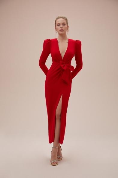 Alfa Beta - Kırmızı Uzun Kollu Yırtmaçlı Midi Boy Jarse Elbise