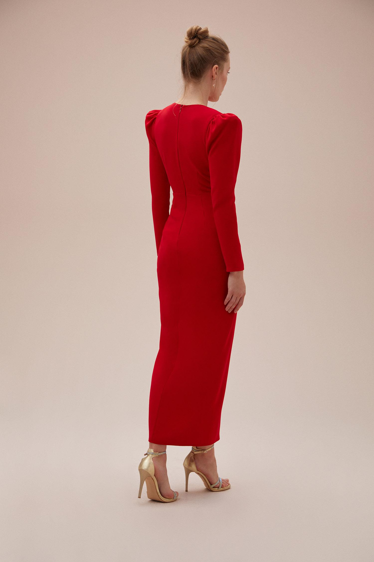 Kırmızı Uzun Kollu Yırtmaçlı Midi Boy Jarse Elbise - Thumbnail