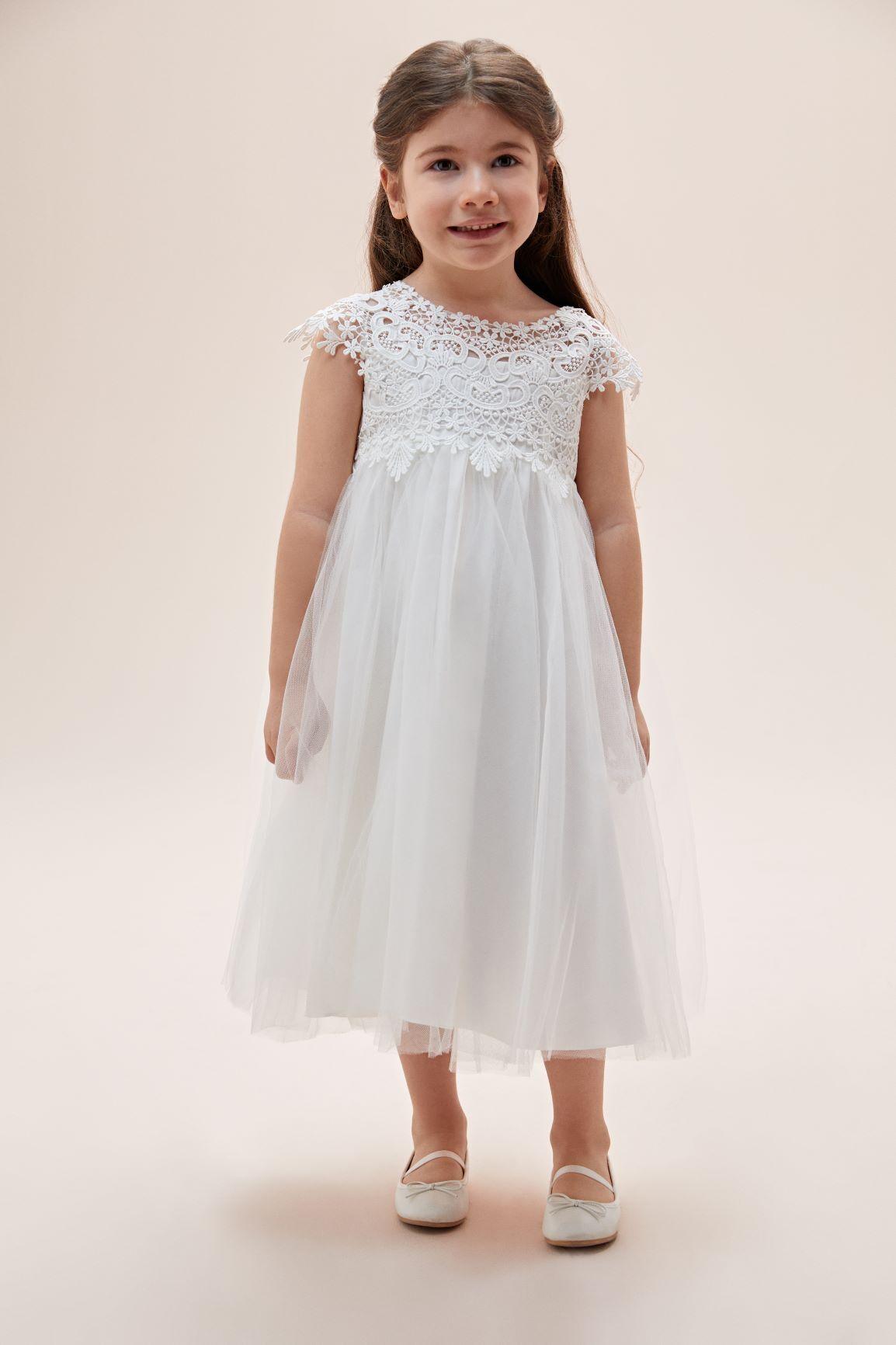 Kısa Kollu Dantel İşlemeli Çocuk Elbisesi - Thumbnail