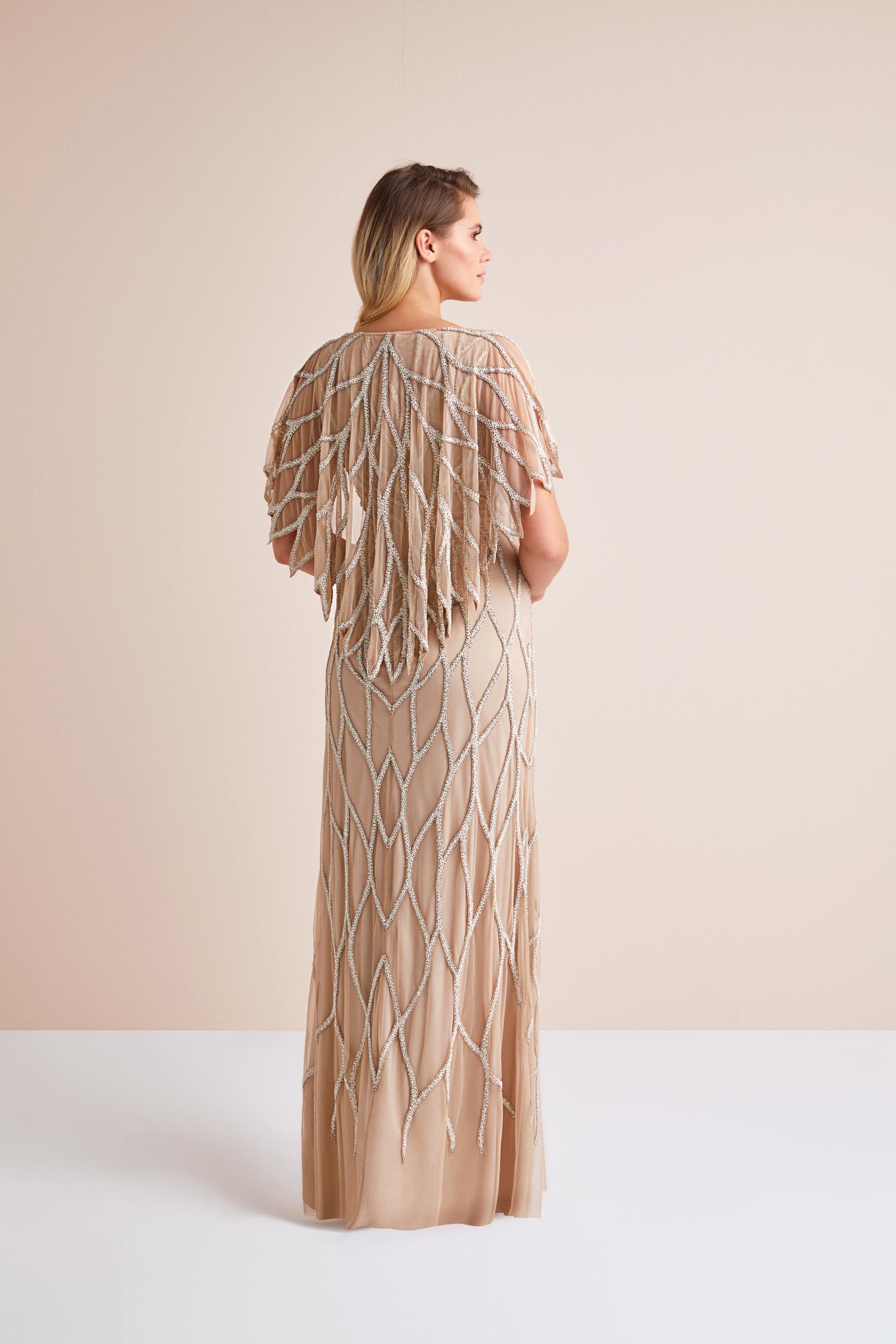 Kısa Kollu Payet İşlemeli Altın Rengi Uzun Büyük Beden Abiye Elbise - Thumbnail