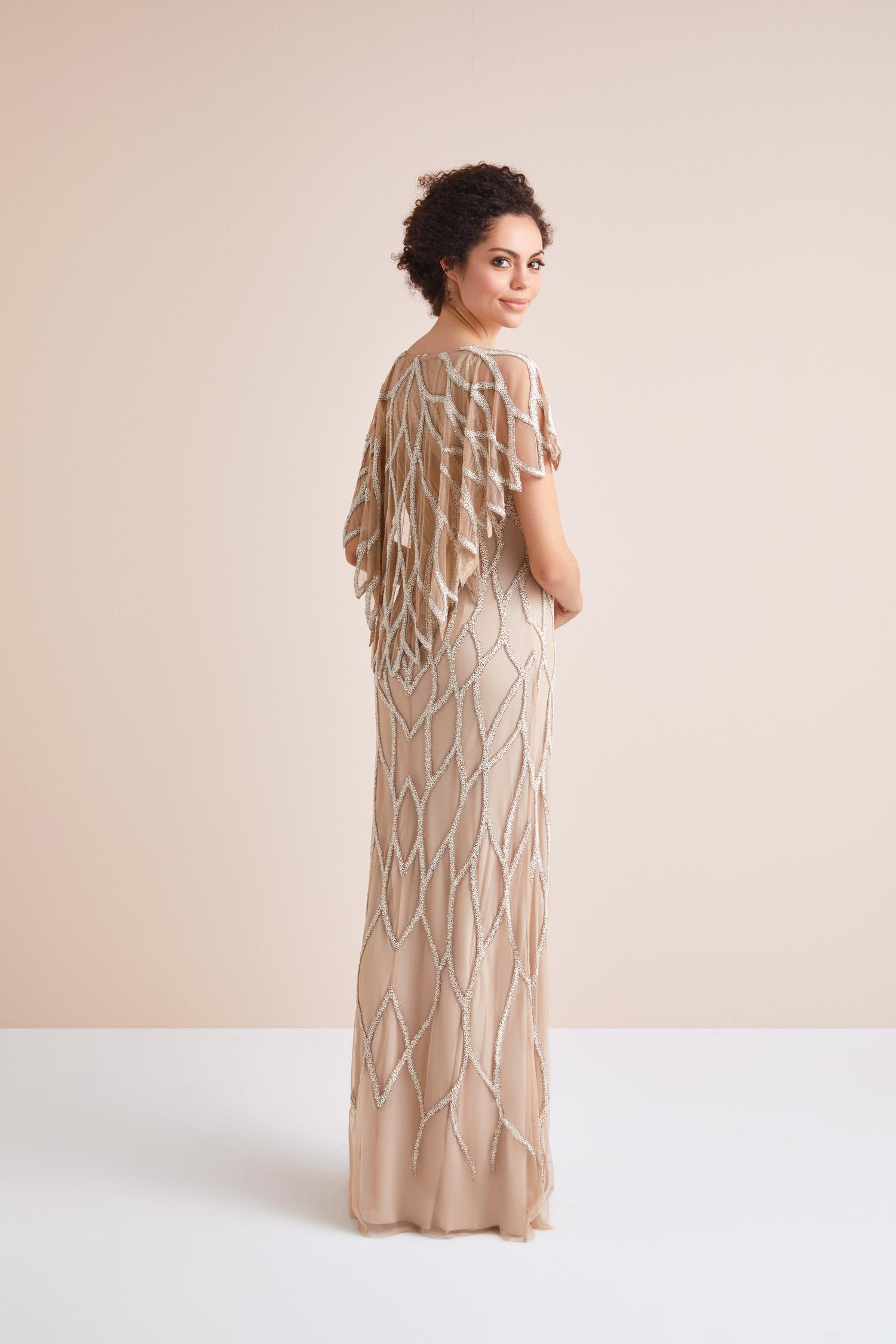 Kısa Kollu Payet İşlemeli Cappucino Rengi Uzun Abiye Elbise - Thumbnail