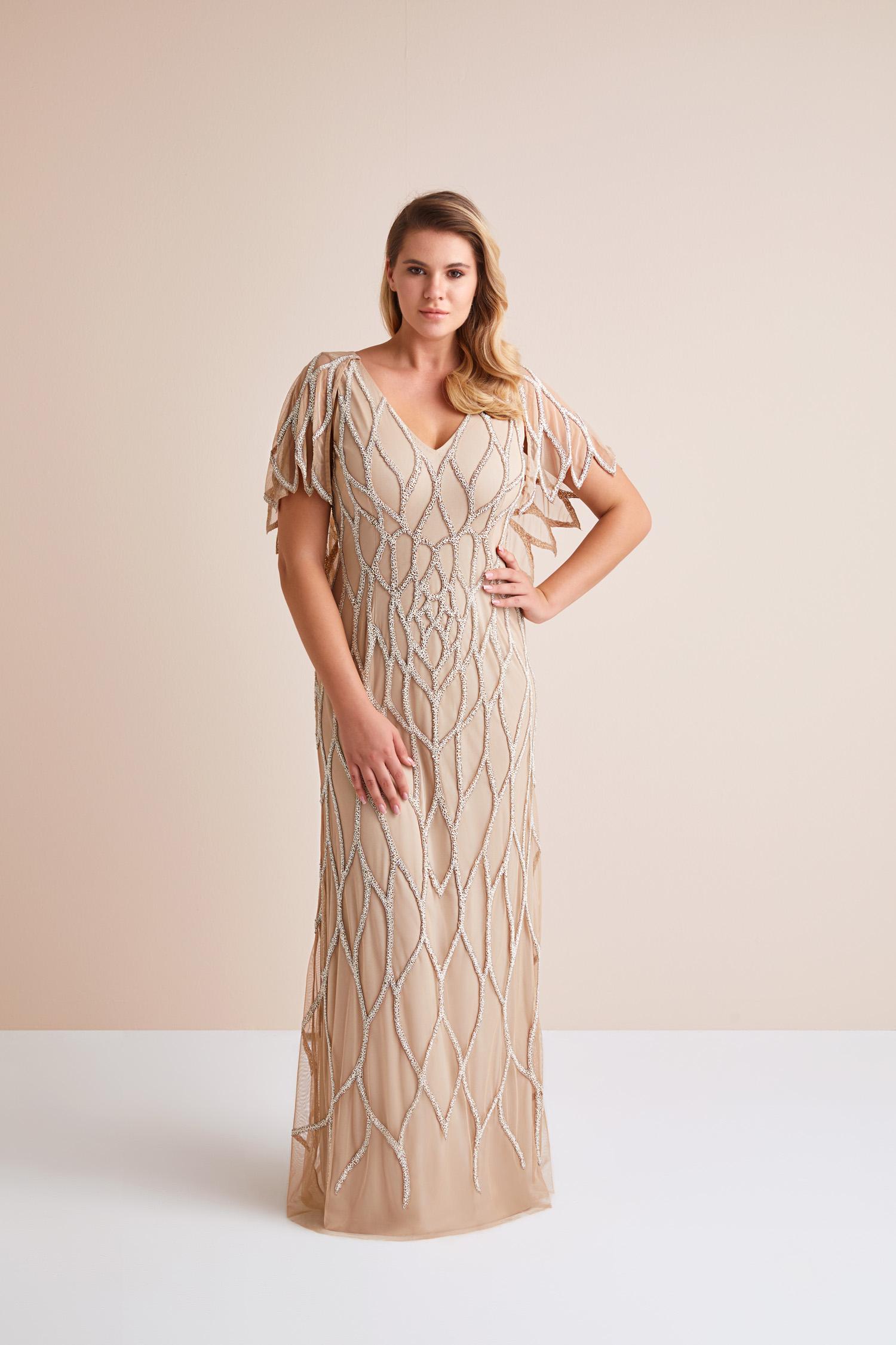 Kısa Kollu Payet İşlemeli Cappucino Rengi Uzun Büyük Beden Abiye Elbise - Thumbnail