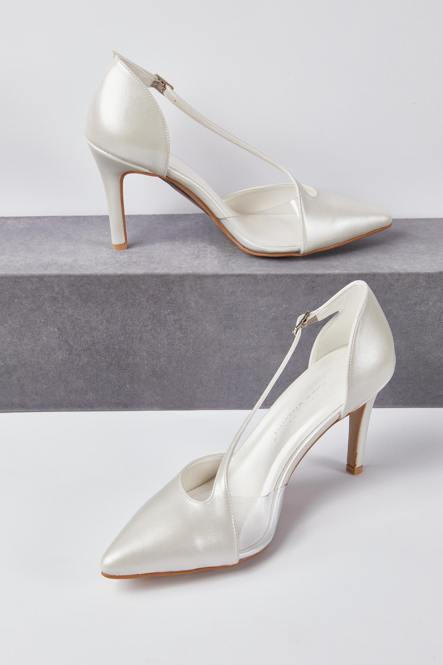 Kısa Topuk Gelin Ayakkabısı Kırık Beyaz Sivri Burun