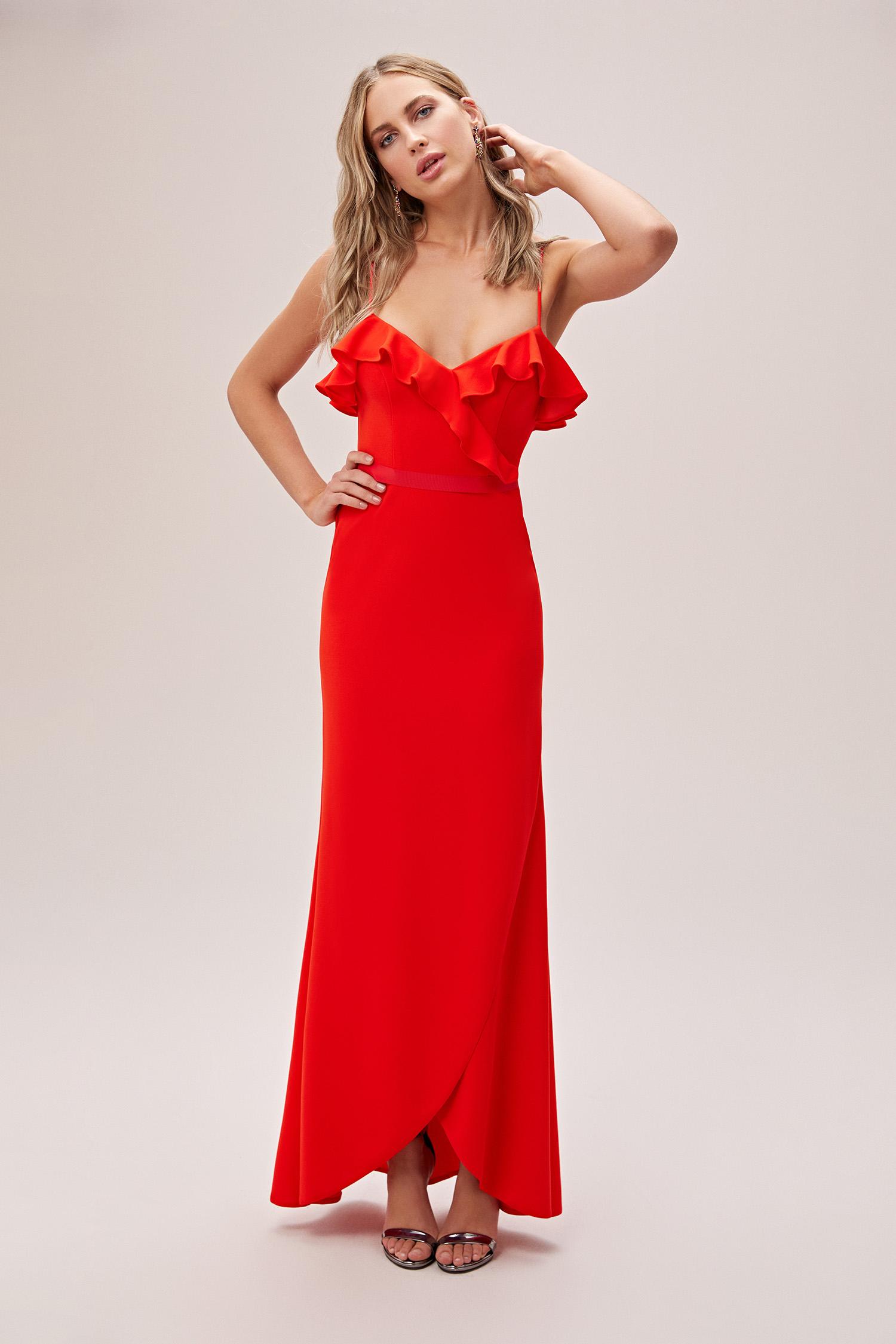 Kızıl Turuncu İnce Askılı Yaka Detaylı Uzun Abiye Elbise - Thumbnail