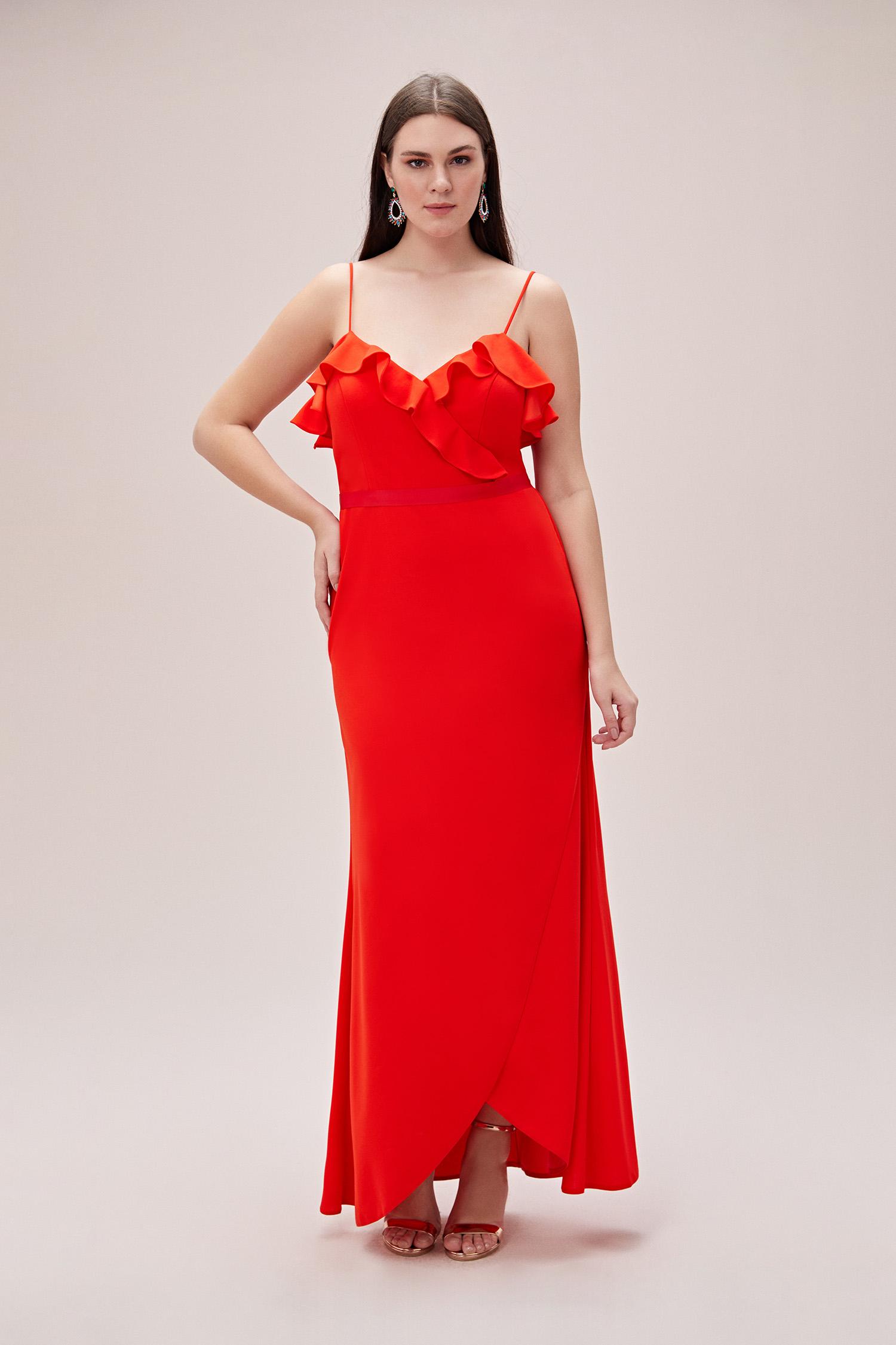 Kızıl Turuncu İnce Askılı Yaka Detaylı Uzun Büyük Beden Abiye Elbise - Thumbnail