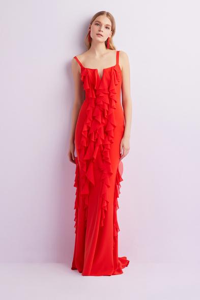 Alfa Beta - Kızıl Turuncu Şifon Askılı Sırt Dekolteli Uzun Abiye Elbise