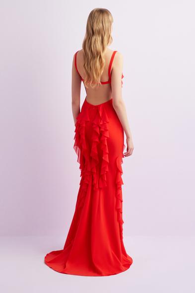 Alfa Beta - Kızıl Turuncu Şifon Askılı Sırt Dekolteli Uzun Abiye Elbise (1)