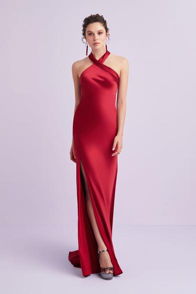 Oleg by Oleg Cassini - Koyu Kırmızı Halter Yaka Saten Uzun Abiye Elbise