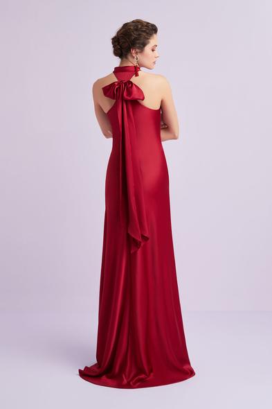 Oleg by Oleg Cassini - Koyu Kırmızı Halter Yaka Saten Uzun Abiye Elbise (1)