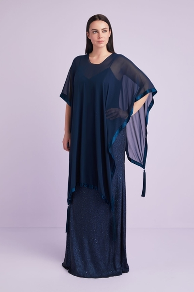 Oleg Cassini - Koyu Lacivert İkili Takım Büyük Beden Abiye Elbise