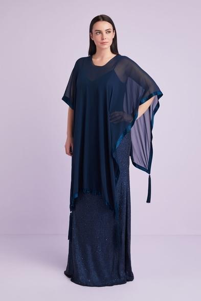 Oleg Cassini - Koyu Lacivert Şifon Uzun İkili Takım Büyük Beden Abiye Elbise