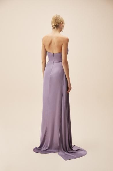 Alfa Beta - Koyu Lila Straplez Yırtmaçlı Saten Uzun Abiye Elbise (1)