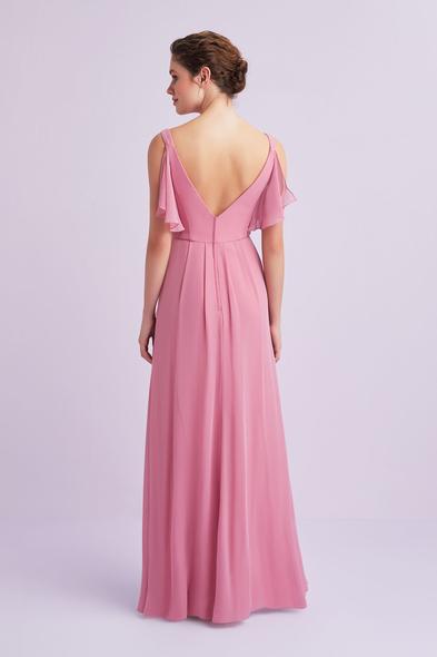 - Açık Pembe Askılı Kolları Fırfırlı Uzun Abiye Elbise - Oleg Cassini