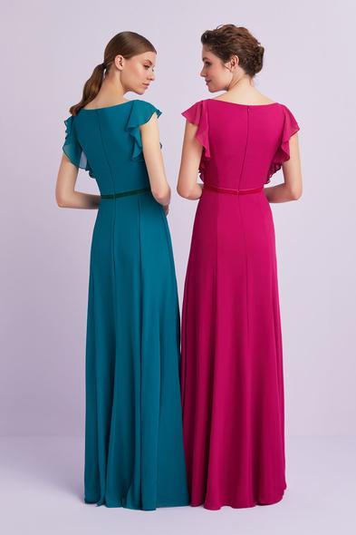 - Koyu Pembe Kolları Fırfırlı Şifon Uzun Abiye Elbise - Oleg Cassini