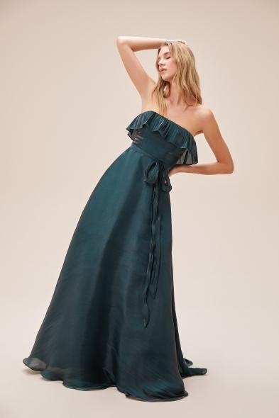 Viola Chan - Koyu Yeşil Straplez Belden Bağlama Detaylı Uzun Abiye Elbise