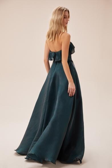 Viola Chan - Koyu Yeşil Straplez Belden Bağlama Detaylı Uzun Abiye Elbise (1)