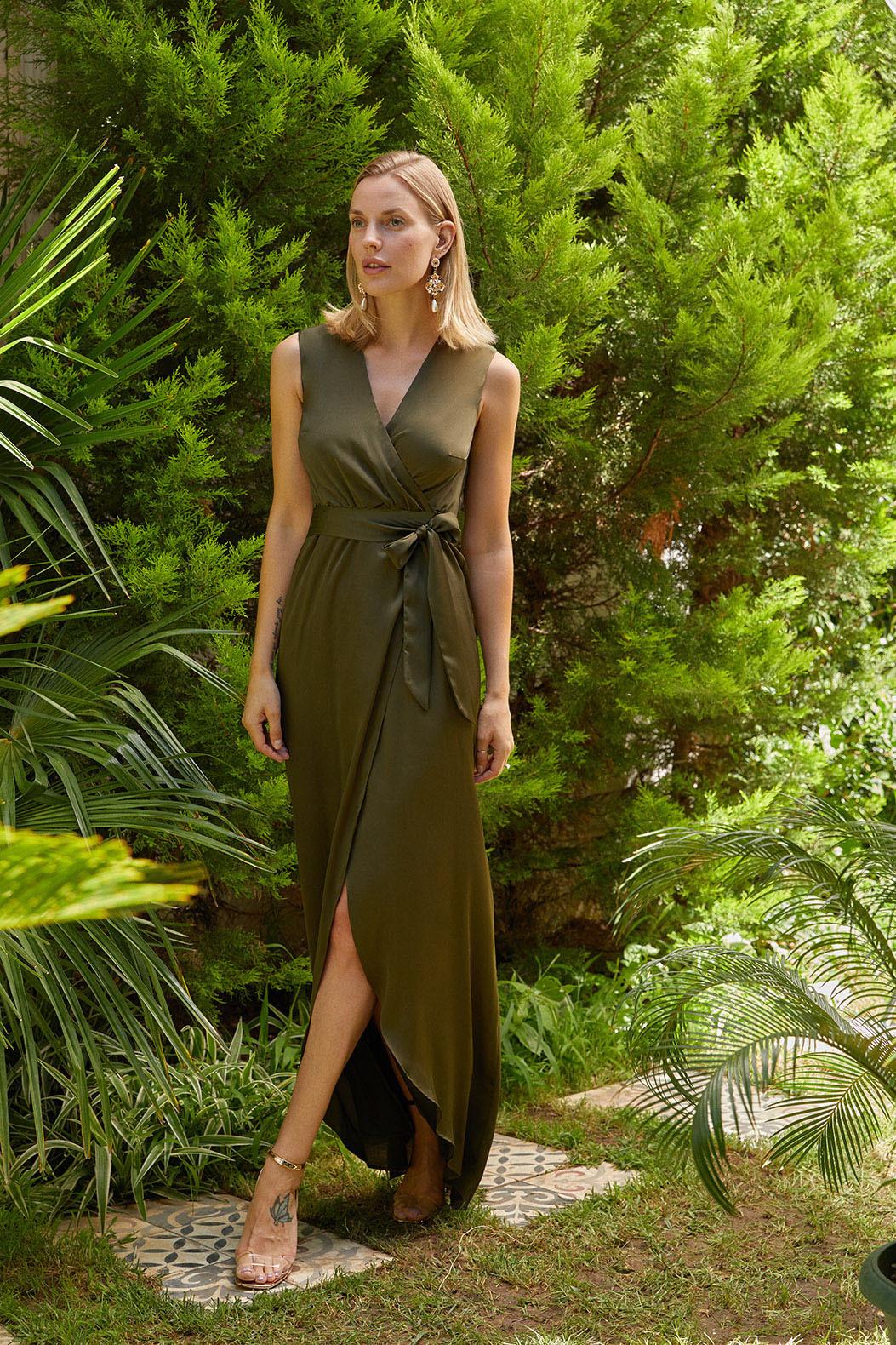Haki V Yaka Kolsuz Kruvaze Uzun Elbise - Thumbnail