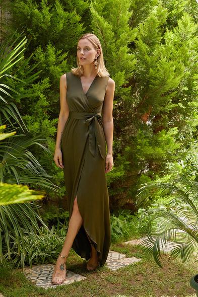 OLEG CASSINI TR - Koyu Yeşil V Yaka Uzun Saten Elbise