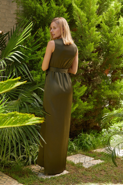 OLEG CASSINI TR - Koyu Yeşil V Yaka Uzun Saten Elbise (1)