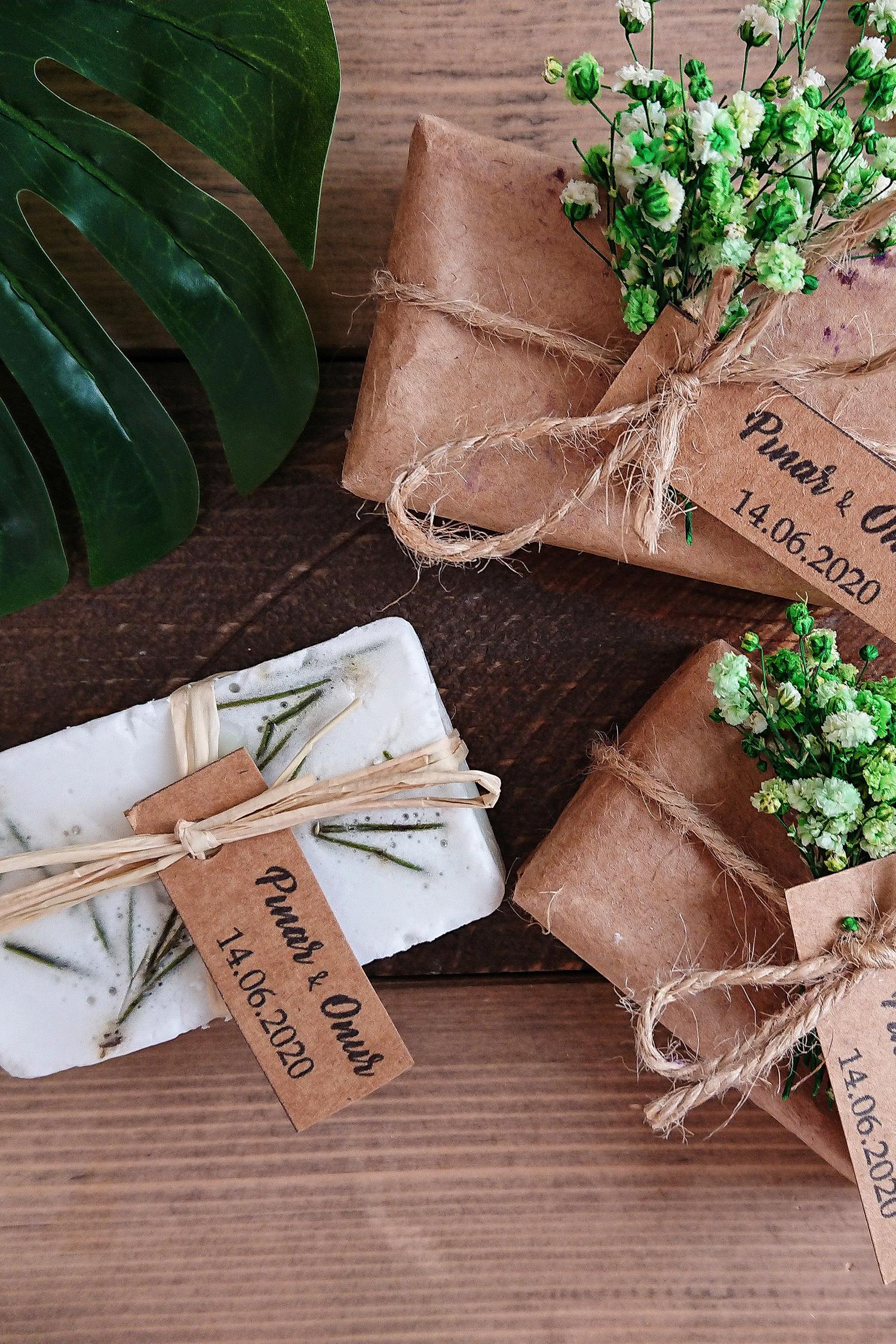 Kraft Çiçek Süslemeli Sabun
