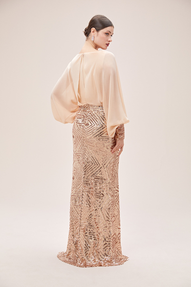 Oleg Cassini - Krem Rengi Yarasa Kol Payetli Şifon Uzun Abiye Elbise (1)